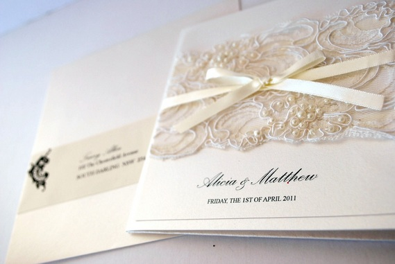 i had the pleasure of creating these ivory pearl lace vintage style wedding invitations for alicia and matts wedding which was held back in april - Vintage Style Wedding Invitations